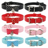 Collars basic knotted - Colors Sizes Bow knot Cute Leather Dog Collars Cat Collars with Bell Cheap Collars