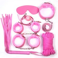 Bondage Rope & Tape Unisex  High Quality Bondage BDSM Kits Sets 7pc Restraints Special Fetish Bondage Gear Handcuffs Collar Whip Rope Ankle Cuff Sex Products for Couple