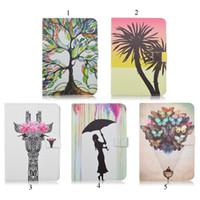 balloon animals giraffe - Tree Giraffe Butterfly Balloon Girl Pattern Prints For iPad MINI4 Stand Case PU Leather Case
