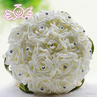 Wholesale Handmade Cream Green Bridal Bouquet Colorful Roses Fake Artificial Bouquet For Wedding Bridal Accessories Free Shiping