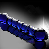 Wholesale Fantasy Big Glass Crystal Blue Wand Best Dildos For Women Sprial Crystal Glass Dildo Huge Glass SE897