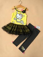 belt leggings - Summer Cool And Refreshing Suit For Kids Hellow Kitty Cartoon Girls Outfits Condole Belt Dress Leggings Children Clothing Sets K381 XQZ