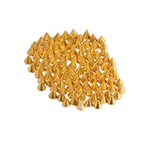 Cheap Wholesale-100 Pieces Lot 3*3.5mm Gold Punk Cone 3D Glitter Nail Accessories Art Charms Styling Tools Stickers Metallic Decorations