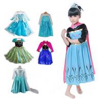 Wholesale 1pc Girls Dress Elsa Anna Dress Party Dresses Princess Cosplay Cartoon Red Cape Brand Girls Children Clothes Kids Drop Shipping