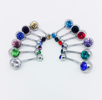 Wholesale Hot Popular Multi Colored Crystal Rhinestone Surgical Steel Belly Button Navel Rings Piercing Bar Fashion Lady Jewellery Colors