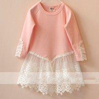korea kids style - New Collection Korea Style Hot Sale Childrens Dress Girls Kids Fashion O Neck Cotton Dress Lace Yarn Pretty Princess Elegent Dress