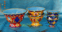 Wholesale 4 inch diameter filaments cloisonne bowl for eight for eight cups handmade Tibetan Tantric Buddhist supplies instruments used