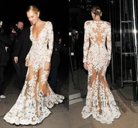 Cheap Zuhair Murad Illusion Long Sleeves Evening Dresses 2015 Sexy Mermaid Formal Party Dresses Sheer Lace Appliques Bodice Celebrity Dresses