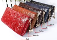 Wholesale New Fashion Style The best Genuine Leather Zip Around Flower pattern Lady Women Long Wallet Purse Handbag Color