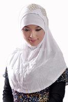 Wholesale Hot sales SOLID COLOR pearl HIJAB ISLAMIC LONG SCARF MUSLIM HEADSCARF