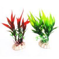Wholesale Red Green Plastic Plant Grass for Aquarium Fish Tank Landscape Decoration