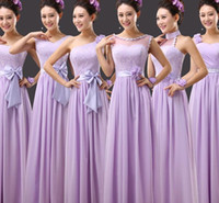 Cheap new bridesmaid wedding party form prom maix gown long dresses lavender light purple neck under 50$ dress