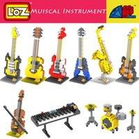 bass guitars kits - DIY Musical Instrument Mini Building blocks Models Guitar Bass Drum Kit Keyboard Violin Craft Present Gift