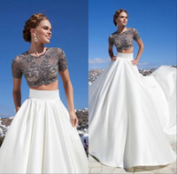 flowing prom gowns - Summer Beach Prom Dresses Custom Made A line Two Piece Short Sleeves Lace Satin Flowing Prom Gowns with Crew Neckline Sexy Prom Dresses