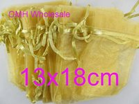 Wholesale OMH x18cm dark yellow color Jewelry festival wedding Christmas voile organza Packaging gift bags BZ09