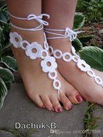 Wholesale FLOWER GARDEN handmade crocheted barefoot sandals in black colors with crochet flowers