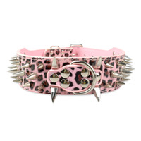 Wholesale Leather Leopard Large Dog Collar - 2inch wide dog collars Pink Leopard Strong Leather Spiked Studded Dog Collars for Pit bull XL L M S