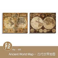 Cheap Vintage Ancient World Map Cottage Large Classic Antique Poster Print Gift Bedroom Wall Art Decor Wood Framed Canvas Oil Painting