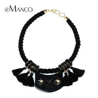 Wholesale Fashion braided tassels female brief paragraph clavicle necklace eManco vintage statement necklaces women jewelry NL09581