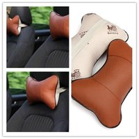 Wholesale Hot sale Brown NEW Arrival Perforating Design Danny leather Hole digging Car Headrest Supplies Neck Auto Safety Pillow
