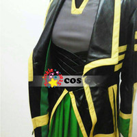 Anime Costumes Cotton Others Wholesale-2015 Halloween costumes for adult women Loki Marvel The Avengers Thor Loki cosplay costume leather dress jacket cloak for women