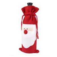 bag party at home - Christmas Santa Bottle Cover of Red Wine Christmas Table Decoration Cover Dinner Party Bags At Home Decorations Party Santa Claus Gift