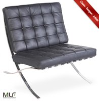 barcelona cushion - MLF Barcelona Chair Italian Leather High Density Foam Cushions Polished Stainless Steel Frame Riveted with Cowhide Saddle Straps