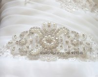 beaded trimmings - pc big flower pearl beaded trimmings clear crystal rhinestone applique hotfix for wedding dress decoration