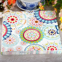 Wholesale 330MMX330MM colored facial tissue paper napkin paper printing handkerchiefs for wedding birthday favors gift with colored flower
