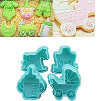 Wholesale Baby Theme Carriage Bottle Plastic Plunger Cookie Cutter Fondant Sugarcraft Cake Mold Cupcake Toppers Decoration Biscuit Mould Cooking Tool
