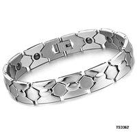 beaded germanium - Korean jewelry new geometry magnetic health germanium stone titanium steel bracelet GS3362 mixed batch Men
