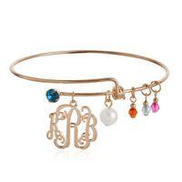custom made jewelry - Monogram Bracelet Personalized KRB Letter Name Bangles Pulseiras Custom Made Jewelry