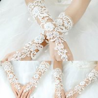Wholesale Hot Sale Sexy Lace Beaded Bridal Gloves Fingerless Pearl For Lady Women Wedding Bride Gloves best deal