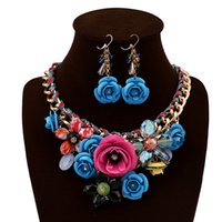 Wholesale 5 Colors Mixed Flowers Crystal Alloy Rhinestone Necklace Earrings Gift Bridal Wedding Prom Party Jewelry Sets