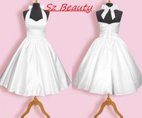 Cheap Vintage 1950s White Halter Bridesmaid Dresses A Line Satin Lace Up Back Tea Length Sleeveless Short Party Prom Dress Gown Cheap 2016