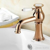 Wholesale Contemporary Brass Deck Mount Basin Vessel Sink Faucet Single Handle Rose Golden Bathroom Hot and Cold Mixer Tap