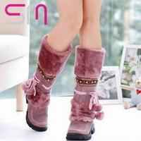 ball platform shoes - Half Knee Snow Boots Big Size Furry Warm Winter Boots Fashion Beaded Ball Lace Up Beaded Women Platforms Rivets shoes