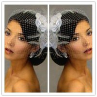 Wholesale 2015 White Buy Classic White Birdcage Veils Face Tier Fascinator Feather White Flower WH02