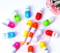 Wholesale The Best Quality Pill Shape Retractable Ball Point Pen Rollerball Pens Creative Stationery Children s Gifts