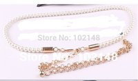 stretch belts - Women s Fashion Elastic Pearl Belt chain Elastic long size Dress Decoration waist Chain good quality pearl strand stretch string freesize