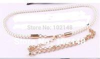 elastic belt - Women s Fashion Elastic Pearl Belt Elastic long size Dress Decoration waist Chain YL028