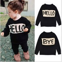 Wholesale Boy Girls INS hello bye letter sweater new children ins Pure cotton double layer thickening Long Sleeve Sweaters Pullover B001