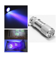 Wholesale Aluminium Blacklight Ink Marker LED LED UV Ultra Violet Mini Portable Flashlight Torch Light Lamp Silver A5