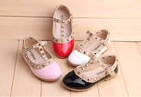 Cheap 2015 newest Spring Elegant Rivet Princess Patent Leather Kids Low-heeled Children Shoes Girls Wedge Sandals fast shipping