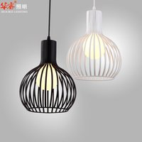 art works - single head white and black wrought iron Bird Cage Lamp modern wrought iron art birdcage pendant light dining room pendant light chandelier