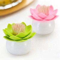 Wholesale 1 piece creative plastic toothpick box colors lotus shape cotton swab toothpick holders table decoration Z
