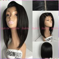 Wholesale Cheapest Synthetic Full Lace Wigs - Brazilian Human Hair full lace Bob Wigs For Black Women 130% Density Natural Color Brazilian Virgin Hair Glueless Upart Wigs Cheap