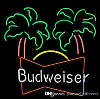 Wholesale NEW BUDWEISER PALM TREE HANDCRAFTED REAL NEON GLASS TUBE BEER BAR NEON LIGHT SIGN