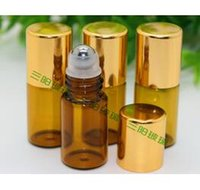 Wholesale mini ml Brown Amber Glass Roll On Essential Oil Perfume Bottle Stainless Steel Roller Ball