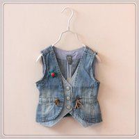 denim waistcoat - 2015 Babies Girls Vintage Srtriped Patchwork Flower Denim Waistcoats Vests Princess Kid Girl Denim Washing Belt Design Casual Ves Clothing